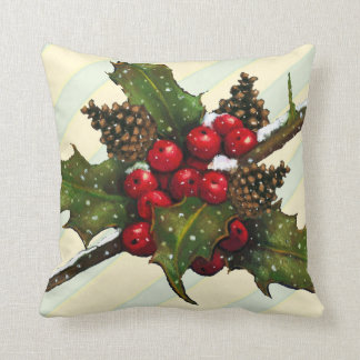Christmas Holly, Pine Cones, Berries, Stripes Throw Pillow