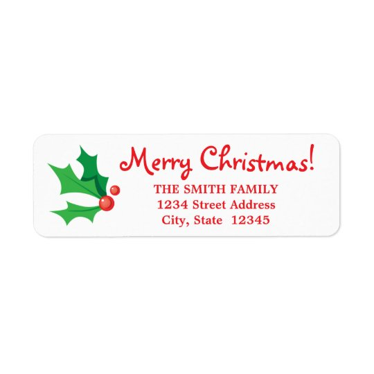 Christmas Holly Return Address Label