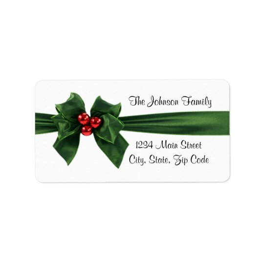 Christmas Holly Ribbon address label, customisable Label