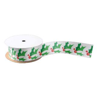 Christmas holly satin ribbon