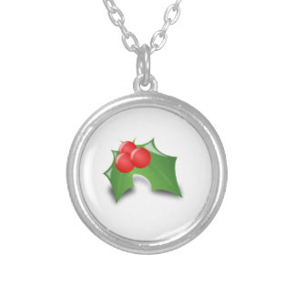Christmas Holly Silver Plated Necklace