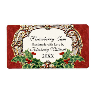 Christmas Holly w Gold Look Damask Kitchen Food