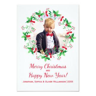 Christmas Holly Watercolor Wreath Holiday Photo 13 Cm X 18 Cm Invitation Card