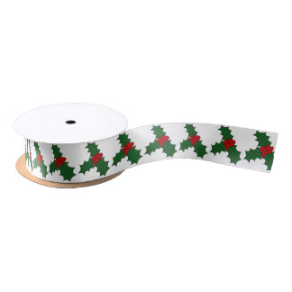 Christmas Holly with Three Leaves Satin Ribbon
