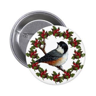 Christmas Holly Wreath Chickadee Original Art Button
