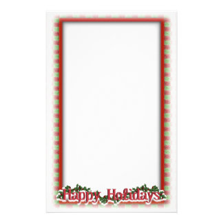 Christmas Holly Wreath Holiday Writing Stationery