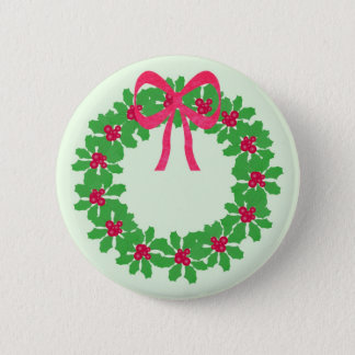 Christmas Holly Wreath T-Shirts, Cards, Gifts 6 Cm Round Badge