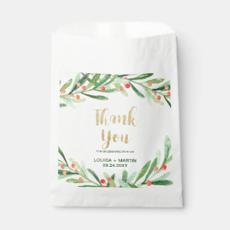 Christmas Holly Wreath Thank You Favour Bag