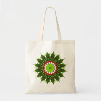 christmas holly wreath tote bags