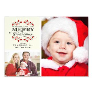 Christmas Holly Wreath Typography 2-Photo Card 13 Cm X 18 Cm Invitation Card