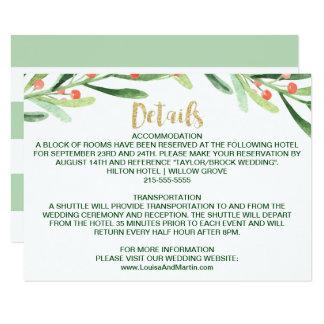 Christmas Holly Wreath Wedding Details Card
