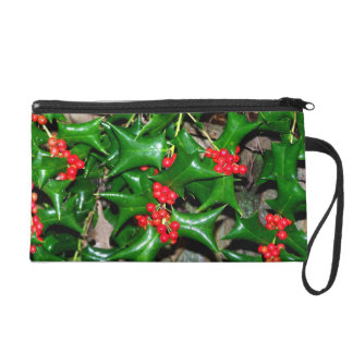 Christmas Holly Wristlet Clutches