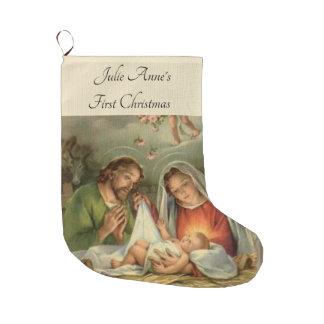 Christmas Holy Family Nativity Jesus Mary Joseph Large Christmas Stocking