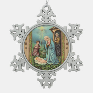 Christmas Holy Family Nativity Jesus Mary Joseph Snowflake Pewter Christmas Ornament