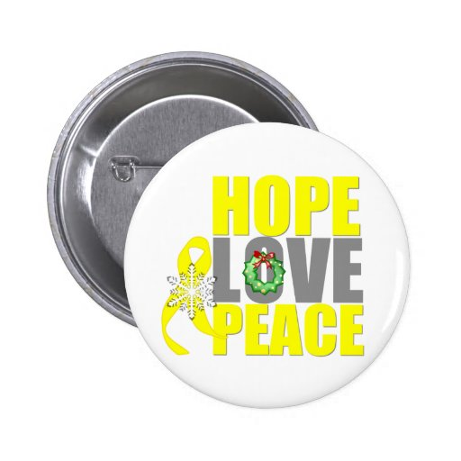 Christmas Hope Love Peace Testicular Cancer Pinback Button