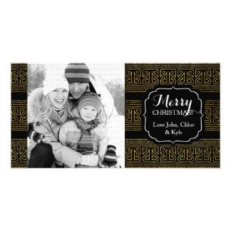 Christmas Hopi Stripes Gold Elegant Photo Card