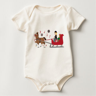 Christmas Horse-Drawn Sleigh with Music Notes Baby Bodysuit