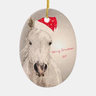 Christmas Horse Holiday Greetings Ceramic Ornament