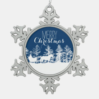 Christmas Horse Sleigh Snowflake Pewter Christmas Ornament