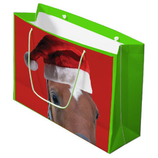 Christmas Horse wearing a Santa Claus Hat Large Gift Bag