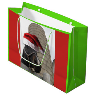 Christmas Horse with Santa Claus Hat on Large Gift Bag