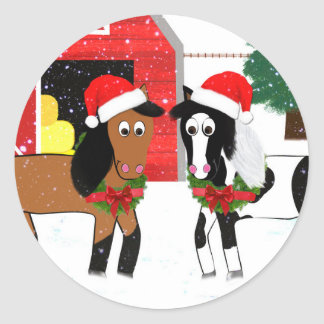 Christmas Horses Classic Round Sticker