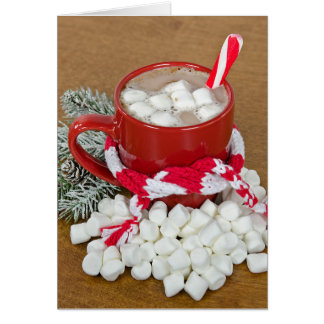 Christmas hot chocolate drink with scarf card