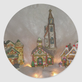 Christmas Houses Classic Round Sticker