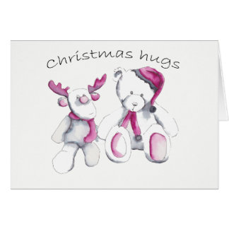 Christmas hugs - Rudolph and bear Card