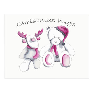Christmas hugs - Rudolph and bear Postcard