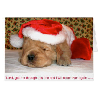Christmas Humor, Golden Retriever Puppy Card
