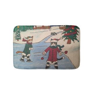 Christmas Ice Skating Bath Mat