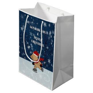 Christmas Ice Skating Bear Medium Medium Gift Bag