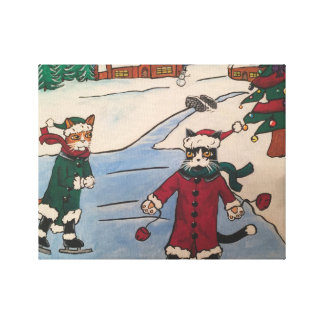 Christmas Ice Skating Canvas Print