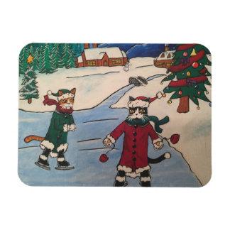 Christmas Ice Skating Rectangular Photo Magnet