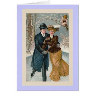 """Christmas Ice-Skating"" Vintage Greeting Card"