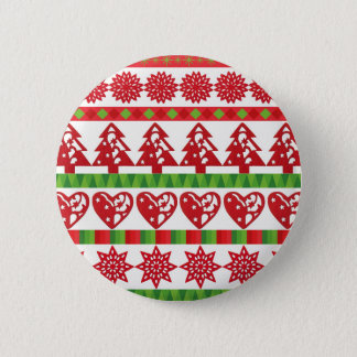 Christmas icons, stars, hearts, pine tree 6 cm round badge
