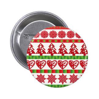 Christmas icons, stars, hearts, pine tree 6 cm round badge