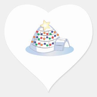 Christmas Igloo Heart Sticker