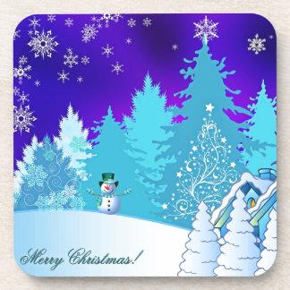 Christmas illustration beverage coasters