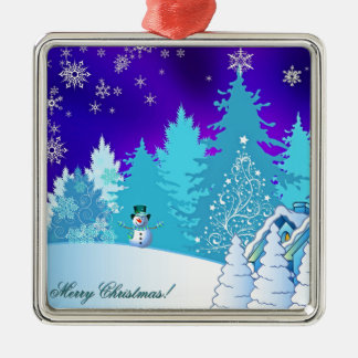 Christmas illustration Silver-Colored square decoration