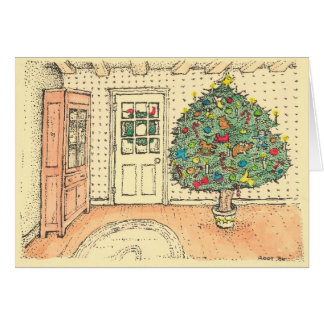 Christmas in a farmhouse - color greeting card