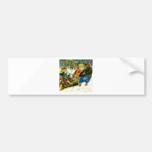 Christmas in Animal Land - The Yule Log Bumper Stickers