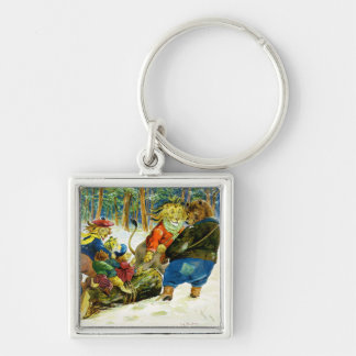 Christmas in Animal Land - The Yule Log Key Chain