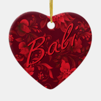 Christmas in Bali Batik 1 Ceramic Heart Decoration