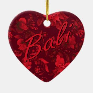 Christmas in Bali Batik Heart Ceramic Heart Decoration
