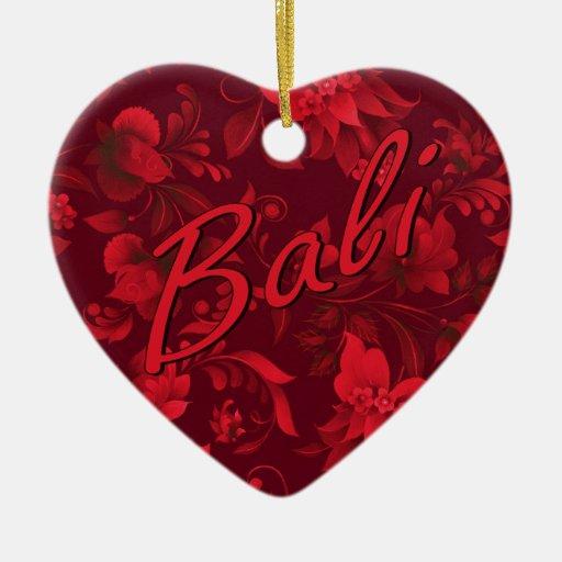 Christmas in Bali Batik Heart Christmas Tree Ornaments