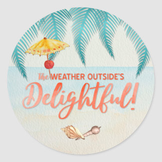 Christmas in Florida Delightful Weather Watercolor Classic Round Sticker