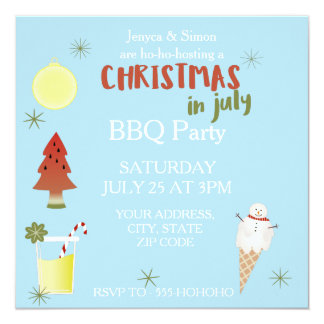 Christmas in July BBQ Party Custom Square Invite