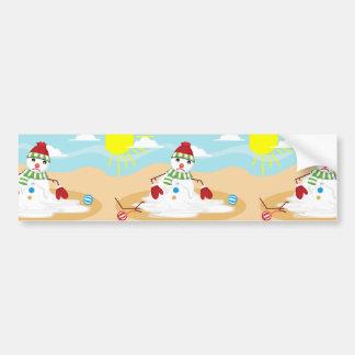 christmas in july snowman bumper sticker
